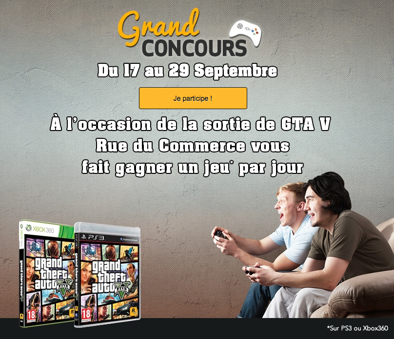 gagnez gta 5 avec rue du commerce insert coin. Black Bedroom Furniture Sets. Home Design Ideas